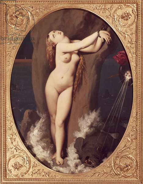 Angelica chained by Jean Auguste Dominique Ingres (1780-1867), oil on canvas, 97x75 cm, First version of Ruggiero rescuing Angelica, 1859