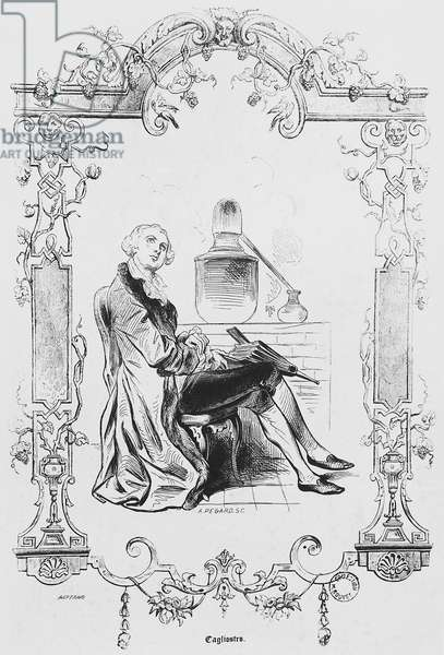 Count Alessandro of Cagliostro (pseudonym Giuseppe Balsamo, 1743-1795), Italian alchemist and occultist, Engraving of 19th century
