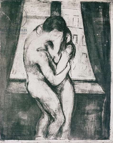 The Kiss, 1895, by Edvard Munch (1863-1944), etching, drypoint, aquatint, 33x26 cm. Norway, 20th century.
