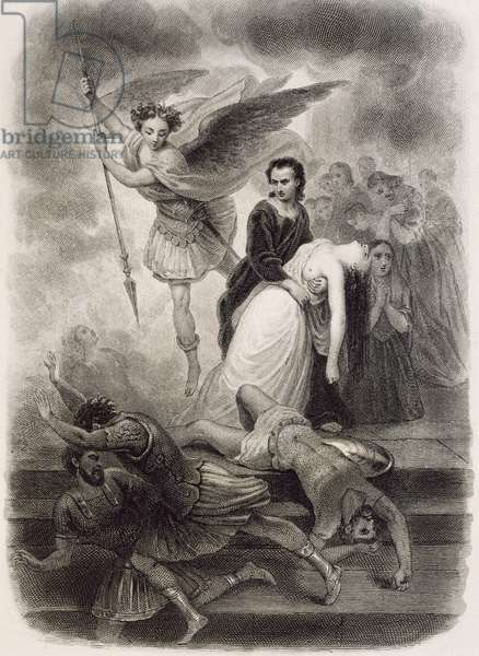 Poet with martyrs Eudore and Cynadocee, illustration for novel by Francois-Rene Chateaubriand (1768-1848), 1809