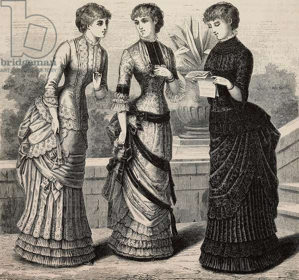 Women wearing double voile, Pompadour silk and plain Faille and satin merveilleux and brocade gauze dresses, Madame Coussinet designs, engraving from La Mode Illustree, No 25, June 18, 1882