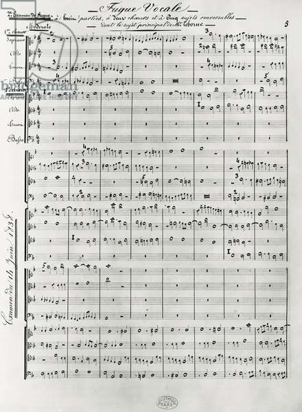 Score of Examination and Competition Fugues, by Cesar Franck (1822-1890), 19th century