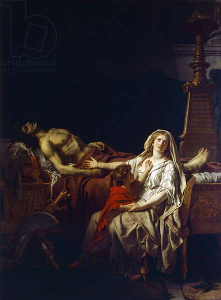 Andromache mourning over body of Hector, by Jacques-Louis David (1748-1825)