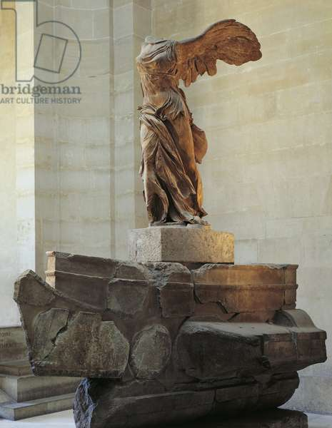 Parian marble statue of winged Victory of Samothrace, also called Nike of Samothrace