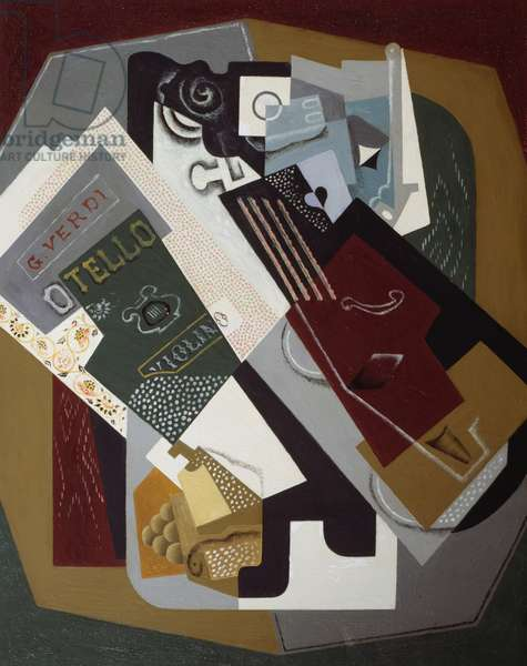 Still life with violin and music for Otello by Giuseppe Verdi, 1919, by Gino Severini (1883-1966), oil on canvas. Italy, 20th century.