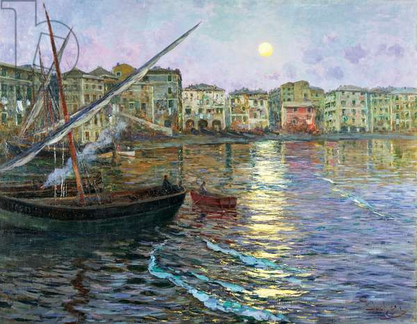 Lunar poetry of Liguria, by Giuseppe Sacheri (1863-1950), oil on canvas, 116x48 cm. Italy, 20th century.