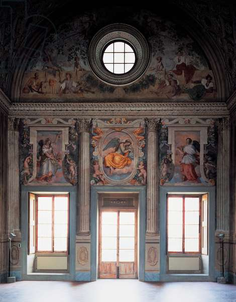 Vertumnus and Pomona, 1519-1521, by Pontormo (1494-1557), fresco painted on bezel of central hall in Medici Villa at Poggio a Caiano (UNESCO World Heritage List, 2013), Tuscany, Italy