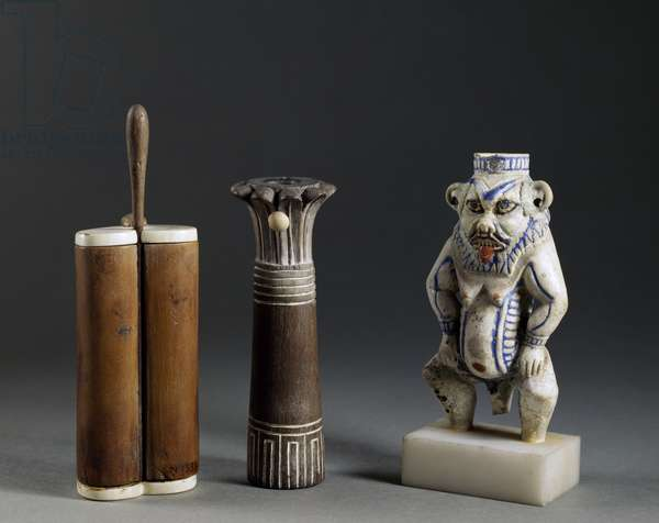 Double cylinder-shaped containers, palm and god Bes, wood and ivory, Egyptian Civilization, New Kingdom
