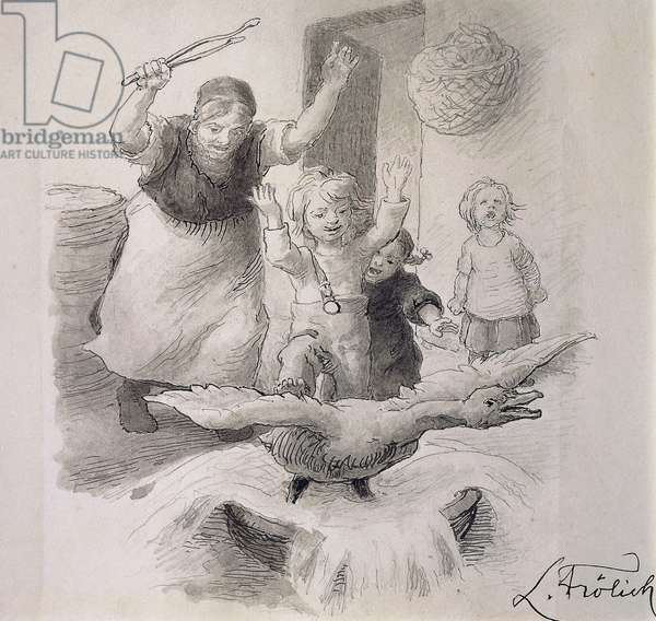 Ugly Duckling, illustration by Lorenz Frolich (1820-1908) for fairy tale by Hans Christian Andersen (1805-1875).
