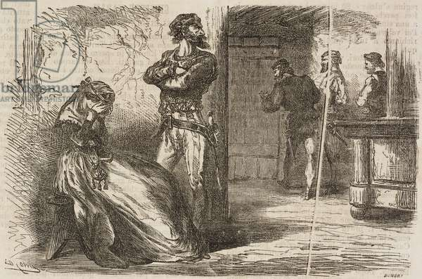 Lady Jane Grey, Queen of England and Ireland, and her executioners, 1554, London, United Kingdom, illustration from Il Giornale Illustrato, Year 3, No 16, April 21-28, 1866
