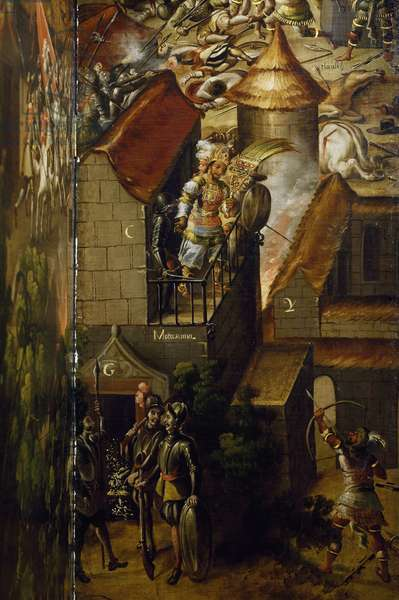 Killing of Montezuma, detail of folding screen with Conquest of Mexico, by an unknown artist, oil on canvas, 16th century