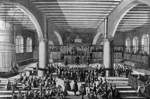 Auditorium of University of Altdorf, where philosopher and mathematician Gottfried Wilhelm Leibniz (1646-1716) received his doctorate in law, engraving by Johann Georg Puschner (active 1705-1750), Germany, 18th century
