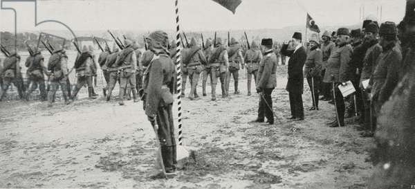 Military parade in Adrianople (Edirne) after being recaptured by Turkish troops: 1 Hereditary prince Yusuf Izzeddin, 2 Sultan Ziaeddin Effendi's son; Turkey, Second Balkan War, photograph by Maurizio Galli