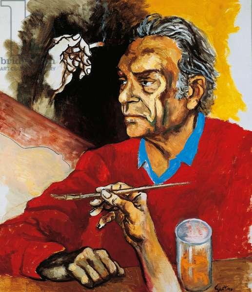 Self portrait, 1975, by Renato Guttuso (1911-1987), oil on canvas, 73x63 cm. Italy, 20th century.