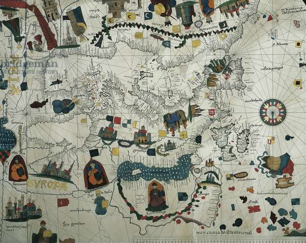 Europe, from a 19th century copy of the nautical planisphere by Juan de la Cosa, 1500
