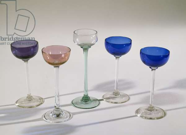Glass liqueur glasses, ca 1910, attributed to Koloman Moser known as Kolo, Austria, 20th century