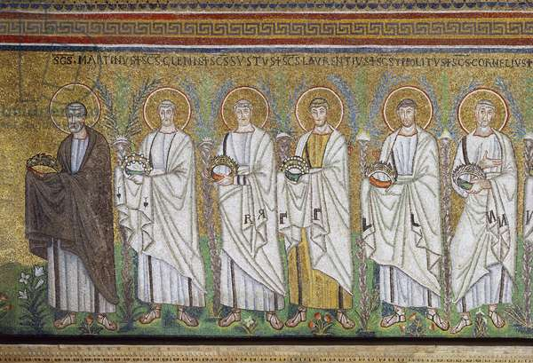 Basilica of Sant'Apollinare Nuovo, Presbytery, Detail of mosaics representing Saint Martin opening procession of Holy Martyrs, Ravenna, Emilia-Romagna, Italy