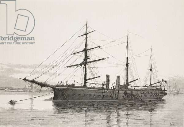 The ship Christopher Columbus moored in Venice, Italy, engraving from L'Illustrazione Italiana, No 3, 21 January, 1877