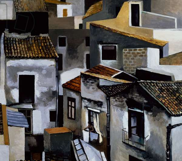 Terrace and roofs in Kalsa, 1976, by Renato Guttuso (1911-1987), oil on canvas. Italy, 20th century.