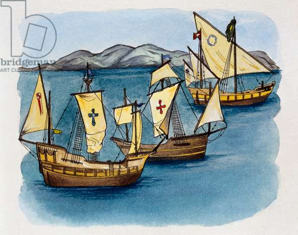 Caravels of Christopher Columbus, 1492, drawing