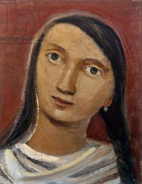 Head of a girl, 1935, by Massimo Campigli (1895-1971), oil on canvas, 27x35 cm. Italy, 20th century.