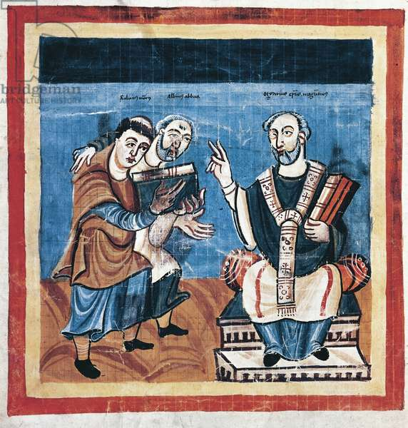 Rabanus Maurus, accompanied by Alcuin of York, presenting his work to bishop Otgar of Mainz, from the Fulda manuscript (vellum)