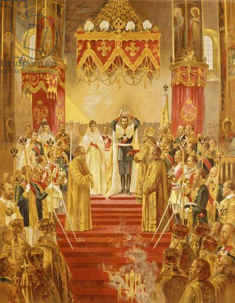 Coronation of Tsar Nicholas II, lithograph, 19th century