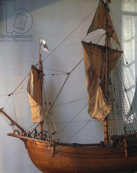 Model of La Pinta, caravel of Christopher Columbus, Detail