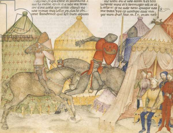 """A joust between Tristan and a knight watched by a king. Miniature from the manuscript """"""""Tristan de Leonois"""""""", Fol. 86 v. B.N., Paris 1400-1425 (miniature)"""