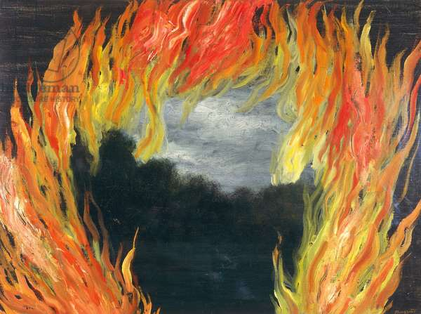 Countryside on fire, 1928, by Rene Magritte (1898-1967), oil on canvas. Belgium, 20th century.