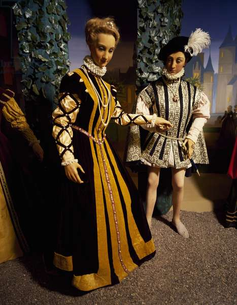 France, Chateau de Chenonceau, Loire Valley, reception in honor of Francis II and Mary Queen of Scots reproduction in wax museum, (UNESCO World Heritage List, 2000), 16th century