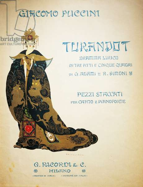Title page of Turandot by Giacomo Puccini, pieces for voice and piano, illustration by Umberto Brunelleschi (1879-1949), published by Ricordi. Italy, 20th century