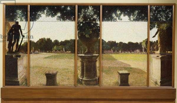 Villa Borghese (Deer Park), 1910, by Giacomo Balla (1871-1958), polyptych, oil on canvas, 190x390 cm. Italy, 20th century.
