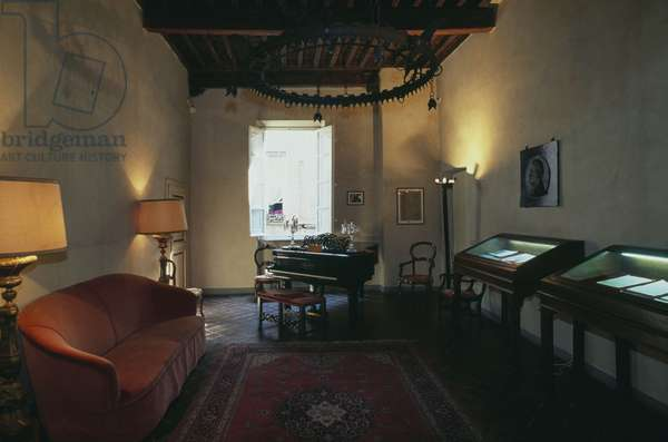 Interior of museum and birthplace of Giacomo Puccini, Lucca, Tuscany, Italy