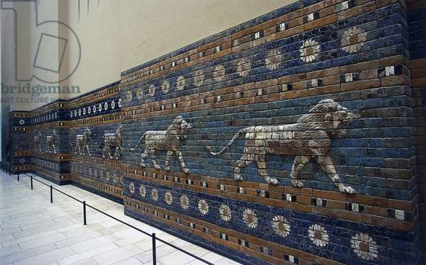 Bas-reliefs of lions along Processional Way, reconstruction in Pergamon Museum, Berlin, Germany, Babylonian civilization, 2nd millennium - 6th century BC, Detail