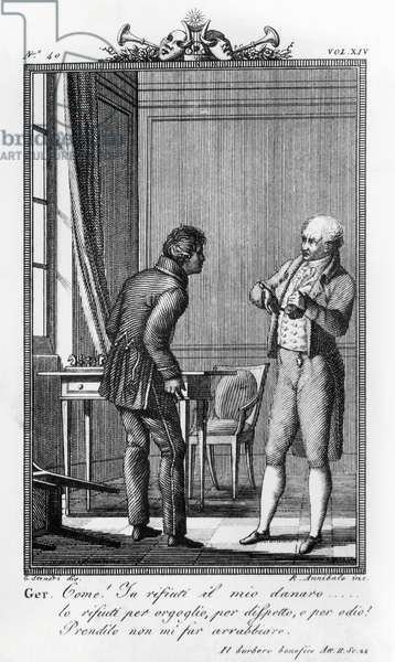 Geronte reproaches Piccardo for refusing his money, illustration for beneficent bear, comedy by Carlo Goldoni (1707-1793), engraving by Rocco Annibale after drawing by G Steneri, from Commedie di Carlo Goldoni, published by Girolamo Tasso, 1824, Venice