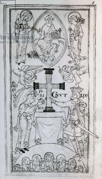 King Canute and his wife Emma putting cross on altar, engraving from New Minster Liber Vitae, Winchester, manuscript, ca 1020, United Kingdom, 11th century