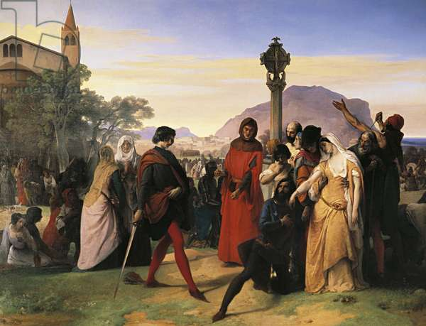 Sicilian Vespers, the bride of Ruggiero Mastrangelo from Palermo insulted by French Droetto is avenged with his death, 1846