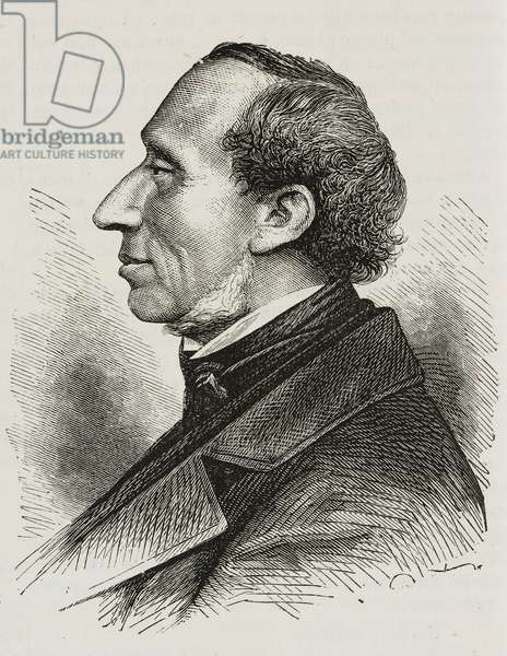 Portrait of Danish writer Hans Christian Andersen (1805-1875), illustration from magazine L'Illustrazione Universale, year 2, no 51, August 15, 1875