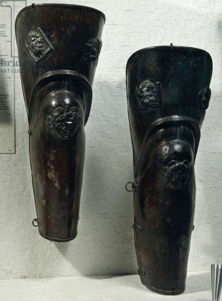 Pair of bronze jambs which belonged to gladiator of Thracian origin, decorated with reliefs depicting head of Gorgon, From Ercolano