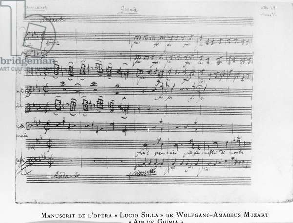 Junia's aria, handwritten score from the opera Lucio Silla by Wolfgang Amadeus Mozart (1756-1791), 18th century