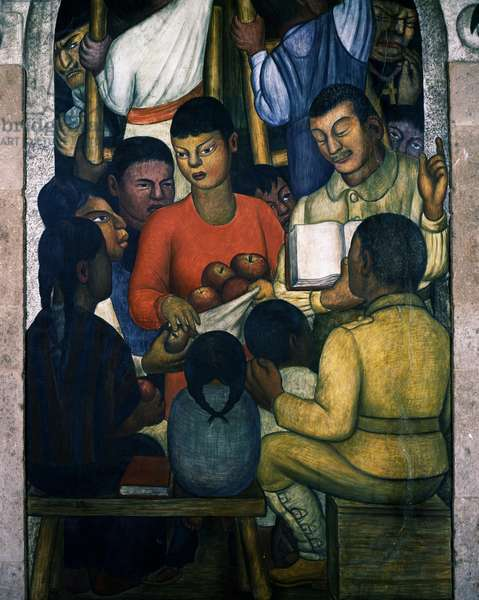 Handing out fruit, by Diego Rivera (1886-1957), fresco, Hotel del Prado in Mexico City. Mexico, 20th century.