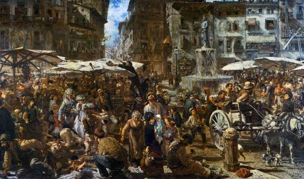 Marketplace in Verona, 1884 (oil on canvas)