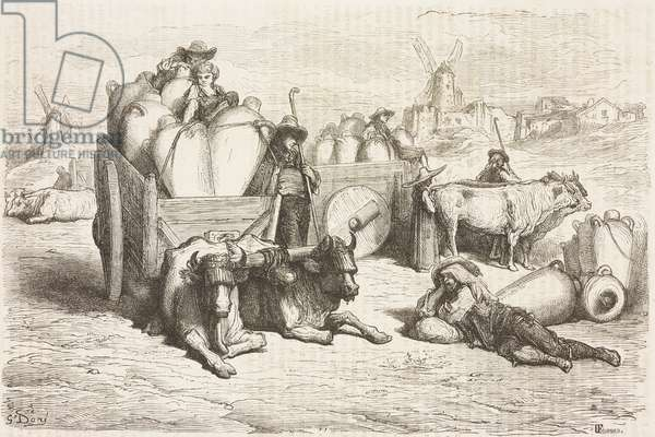 Tinajas (traditional amphorae) of La Mancha, Castile-La Mancha, Spain, drawing by Dore, from Travels in Spain by Gustave Dore (1832-1883) and Jean Charles Davillier (1823-1883)