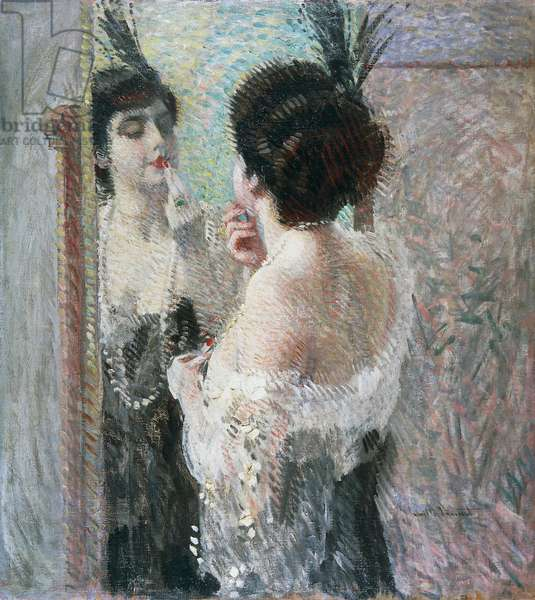 Female figures at the mirror, The lipstick, 1912 (oil on canvas)