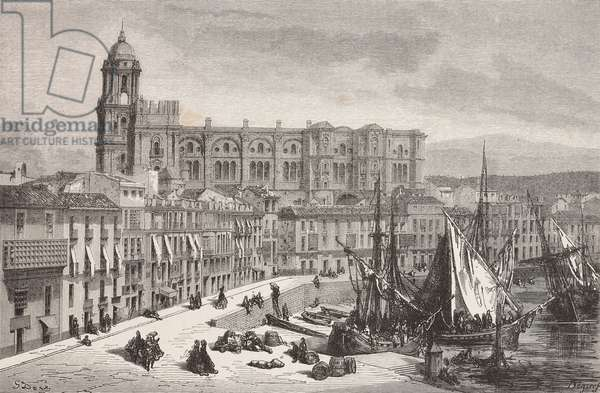 Malaga cathedral and port, Spain, drawing by Dore, from Travels in Spain by Gustave Dore (1832-1883) and Jean Charles Davillier (1823-1883), 1862, province of Granada
