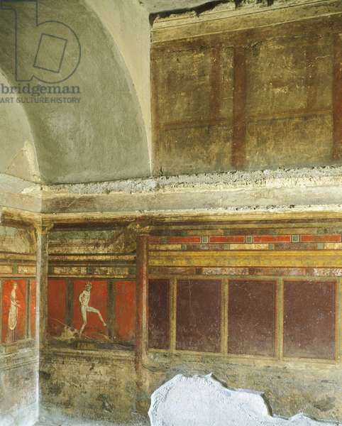 Double alcove cubiculum with fresco of dancing satyr, from Villa of Mysteries, Pompeii, Campania, Italy, 1st Century