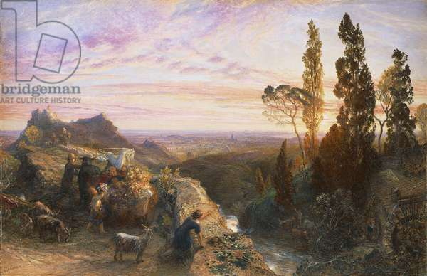 Dream in  Apennines, circa 1864, by Samuel Palmer (1805-1881), watercolor and gouache on paper transferred onto wood