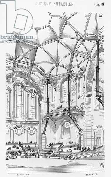 Drawing for concert hall, by Eugene Emmanuel Viollet-le-Duc (1814-1879) from Conversations on Architecture, 19th century