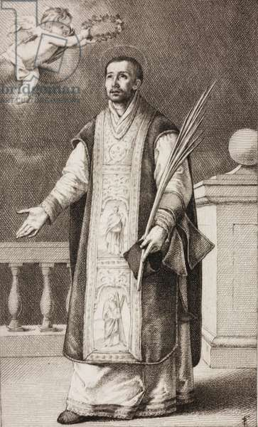St Roderick of Cordoba, engraving by Hugo Burkner (1818-1897) based on painting by Bartolome Esteban Murillo (1618-1682), in Dresden, Paris, Rome, Florence, Montpellier, by Leon Curmer (1801-1870), 1863